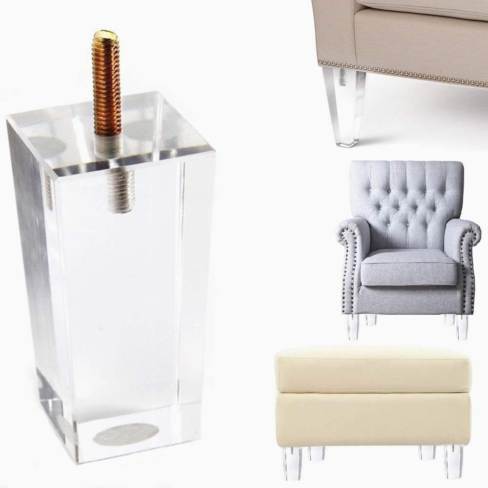 Acrylic Furniture Legs Sofa for Chair Lovseat Ottoman Couch Bed Replacement Bun Feet with Mounting Plates Set of 4 (6 inch Furniture Legs)