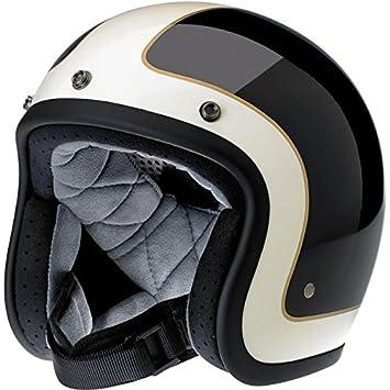 Bonanza Gloss - Casco retro abierto para moto, negro y blanco