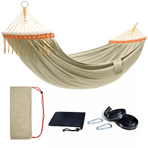 TOURIT Lightweight Portable Hammock Double Camping Hammock with Tree Straps for Outdoors Patio Yard Backpacking Travel Camping Beach (450lbs Capacity)