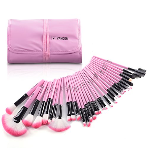Makeup Brushes, VANDER 32pcs Professional Soft Synthetic Kabuki Cosmetic Eyebrow Shadow Makeup Brush Set Kit with Powder Puff and Makeup Brush Cleaner