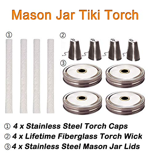 Mason Jar Tiki Torch Kits,4 Pack Regular Mouth Lids,4 Long Life Torch Wicks and Caps Included,Oil Fuel Lamps for Patio Table Top Torch Lantern(No Jar) by Autorch (Image #3)