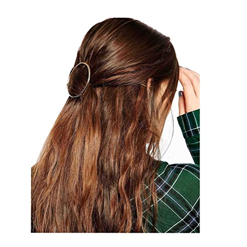 Fashion Women Girls Gold/Silver Plated Metal Round Bar Hair Clips Metal Circle Hairpins Holder Hair Accessories (gold) (Circle Gold Brooch)