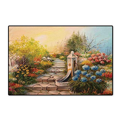 (Flower Bath Mats Carpet Opium Poppy Field and Beautiful Yard Sunset Over The Ocean Under The Clouds Picture Customize Door mats for Home Mat 24