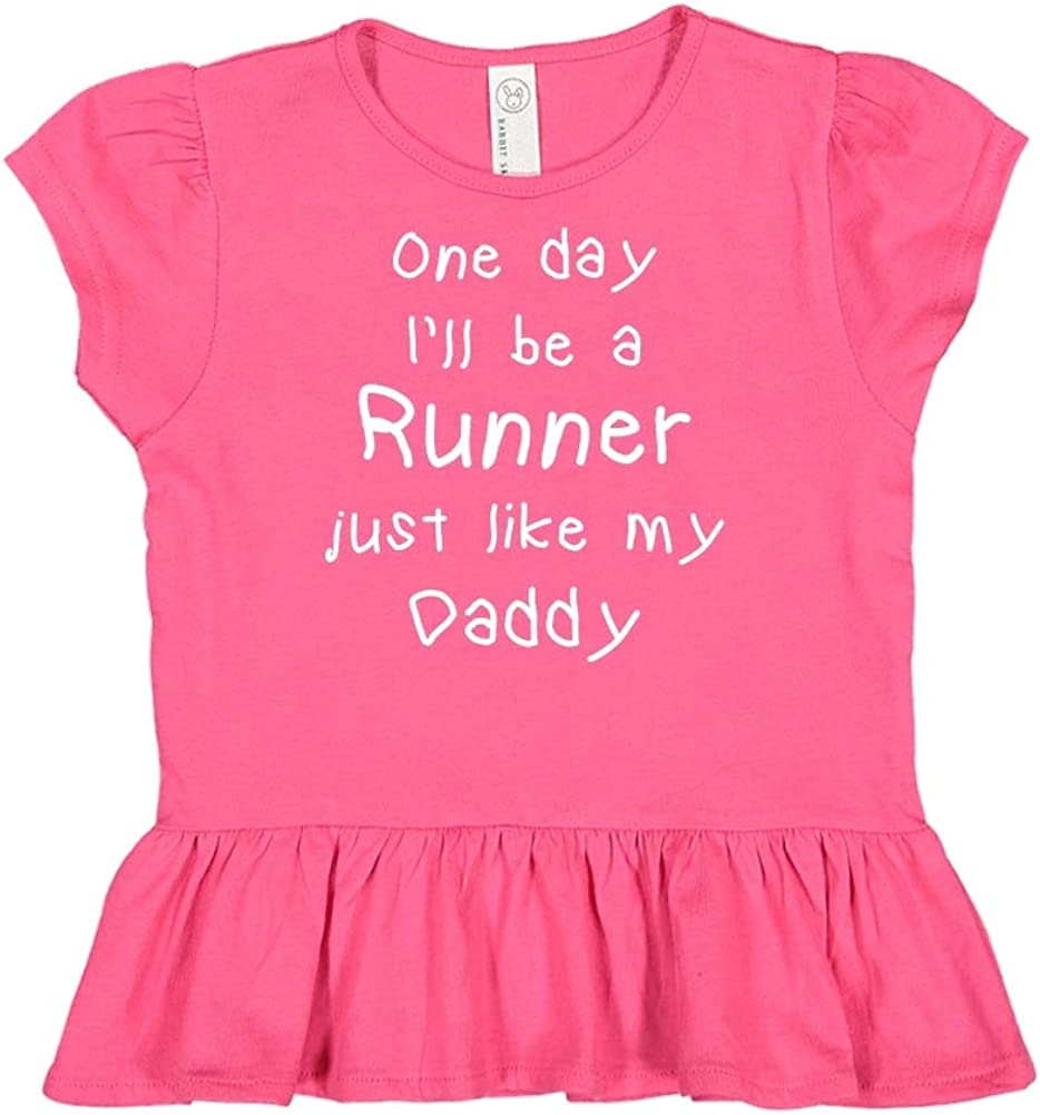 One Day Ill Be A Runner Just Like My Daddy Toddler//Kids Ruffle T-Shirt