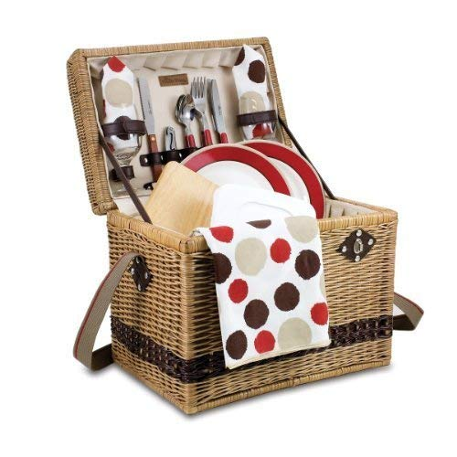 Picnic Time Yellowstone Moka Willow Picnic Basket with Deluxe Service for 2, Brown by Picnic Time ()