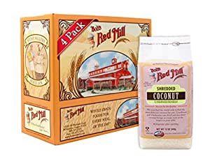 Bob's Red Mill Shredded Coconut Unsweetened, 12 Ounce (Pack of 4)