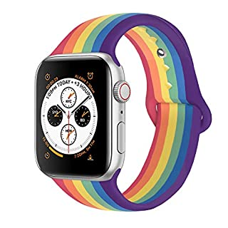 Yone Compatible with Apple Watch Band, Silicone Sport Replacement Loop Wrist Band for Watch Series 5/4/3/2/1 (Rainbow, 42/44mm M/L)