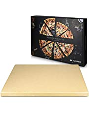 Navaris XL Pizza Stone for Baking - Cordierite Pizza Stone Plate for BBQ Grill Oven - Cook and Serve Pizza Bread Cheese - Rectangular, 38x30x1.5cm XL - Rectangular Brown
