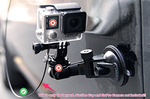 Best Tether for GoPro Cameras GOMA LASSO - compatible with gopro hero4 and all previous gopro editions- protect your valued action camera and shoot anywhere worry free - 2mm thick Stainless steel wire