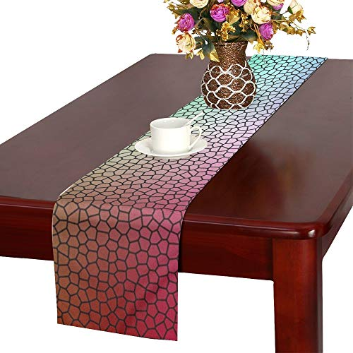 Jnseff Mosaic Stones Glass Pattern Texture Template Table Runner, Kitchen Dining Table Runner 16 X 72 Inch For Dinner Parties, Events, -