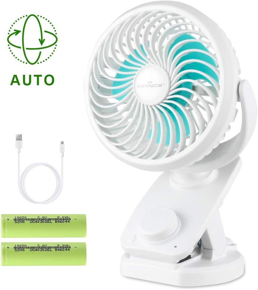 KEYNICE Clip Fan USB Desk Fans Table Personal with Rechargeable 5000mAh Battery Operated 90 Auto Rotation, Quiet Fan for Stroller, Office, Home, Dorm, Camping- White