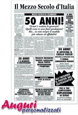 Bombo Biglietto Auguri Giornale Compleanno 50 Anni Amico Amazon