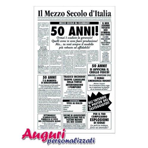 Amato Biglietto auguri giornale compleanno 50 anni amico: Amazon.it  WC92