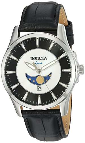 Invicta Men's Vintage Stainless Steel Quartz Watch with Leather-Synthetic Strap, Black, 20 (Model: 23128)