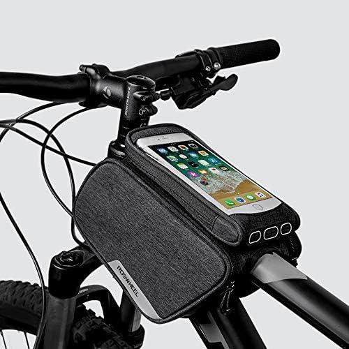 バイクトップフレームバッグ、マウンテンバイクサドルバッグ、取り外し可能な携帯電話バッグ、タッチセンシティブ、お手入れが簡単