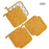 Kitchen Potholders Set (6 Pack) Heat Resistant Coaster 100% Pure Cotton Kitchen Everyday Potholders- 7''X7'' For Cooking And Baking by Jennice House (Mustard)
