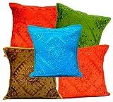 5Pcs-100Pcs Amazing India Multi Color Mirrorwork Traditional Square Cushion Covers Wholesale Lot