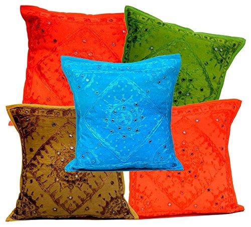 5Pcs-100Pcs Amazing India Multi Color Mirrorwork Traditional Square Cushion Covers Wholesale Lot by Amazingindiaonline (Image #1)
