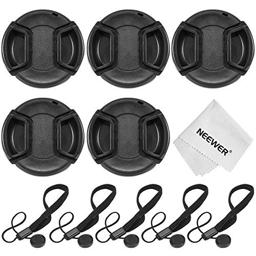 Neewer 58MM Camera Lens Cap Kit for CANON Rebel (T5i T4i T3i T3 T2i T1i), CANON EOS (700D 650D 600D 550D 500D 450D):(5)58mm Lens Caps+(5)Cap Keeper Leashes+(1)Microfiber Cleaning Cloth
