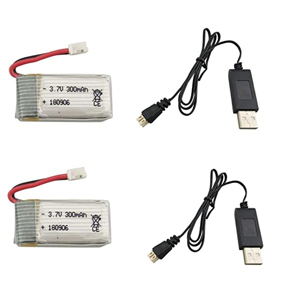 2 unidades 3,7 V 300 mAh batería con cable de carga USB para ...