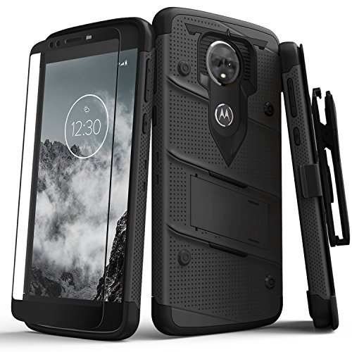 ZIZO Bolt Series Motorola Moto e5 Supra Case Military Grade Drop Tested with Tempered Glass Screen Protector Holster e5 Plus Black