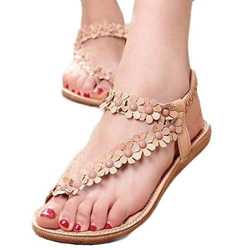Hunputa Women Summer Bohemia Flower Beaded Sandals Clip Toe Sandals Beach Shoes (Khaki 02, 35(US Size 4.5))