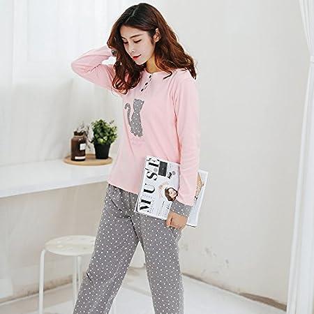 0048bd22de MH-RITA Babyoung 2017 Women Pajamas Set Pyjamas Cotton Cat Pattern Long  Sleeve Pijamas Mujer