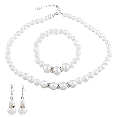 373ab2c48f643 Souarts Parure Bijoux Femme Collier Bracelet Boucle d'oreille Ensemble  Cadeau Soirée Mode en Perle
