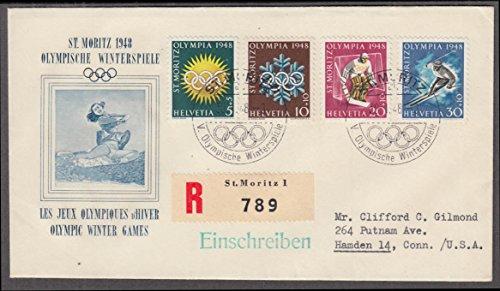 1948 St Moritz Winter Olympics cachet cover 4 stamps PM Switzerland