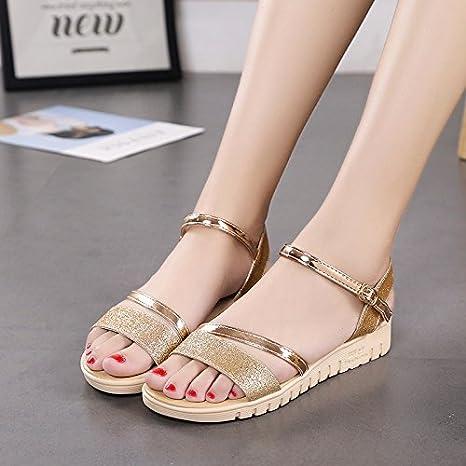 ace942899f XY&GK Donna Sandali Estate a fondo piatto punta nuda sandali semplice  parola fibbia piatta con scarpe