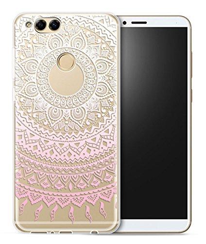 Funda Para Huawei Honor 7X, Sunrive Silicona Funda Slim Fit Gel Transparente Carcasa Case Bumper de Impactos y Anti-Arañazos Espalda Cover(tpu Gato 3) + 1 x Lápiz óptico tpu Flor rosa