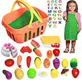 Customizable 26-Pc Pretend Play Grocery Shopping Play Toy Food Set, Fruit, Vegetable With Apron and Personalized Shopping Basket