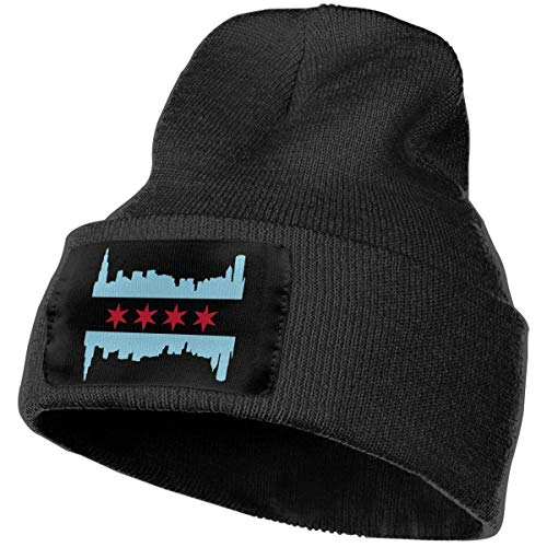 Mens Womens 100% Acrylic Knitted Hat Cap, Chicago Flag with Buildings Skyline Original Beanie Hat Black ()