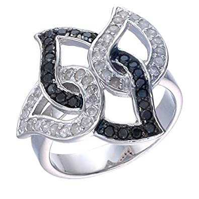 Sterling Silver Black Diamond Ring (3/4 CT) In Size 7