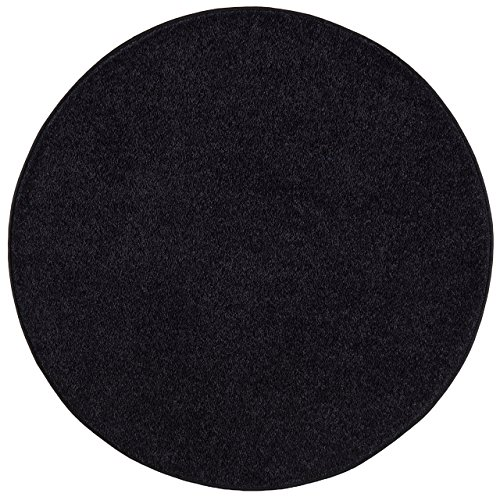 Nance Industries OurSpace Bright Area Rug, 6-Foot Round, Charcoal Black