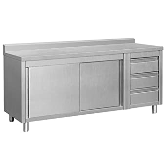 EQ Kitchen Line Stainless Steel Commercial Prep Work Table Sliding - Stainless steel work table with drawers