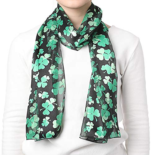 CBC Crown Women's St.patrick's Shamrock Scarf One Size w/Gift Box (Black)