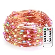 #LightningDeal 52% claimed: LeMorcy Waterproof String Lights, Multi-Color 8 Modes 33ft 100LED Copper Wire Starry String Lights Battery Powered with Remote Control for Outdoor, Indoor, Wedding, Garden, Christmas, Party