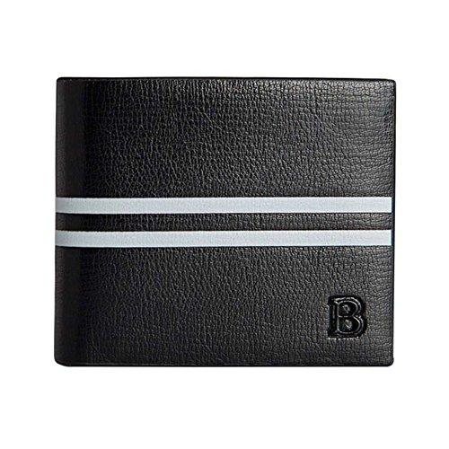 Bi Fold Striped Wallet (Badiya Men's Fashion Striped Bifold Wallet Synthetic Leather RFID Blocking)