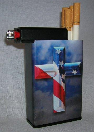 Cigarette Case American Flag Cross with Built on Lighter Holder Box