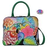 Anna by Anuschka Leather Medium Rounded Satchel Handbag - Purse Holder Bundle (Whimsical Garden)
