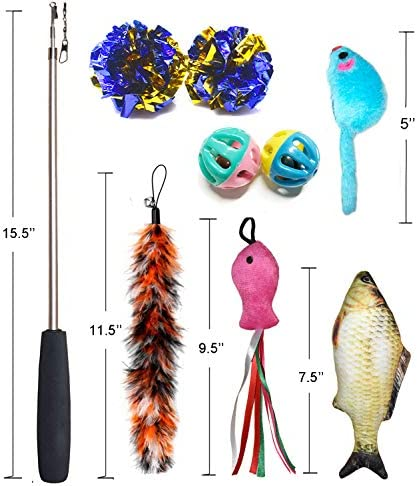 PETOY Cat Toys Set, Cat Retractable Teaser Wand, Catnip Fish, Interactive Cat Feather Toy, Mylar Crincle Balls, Two Cotton Mice, Two Fluffy Mouse 7