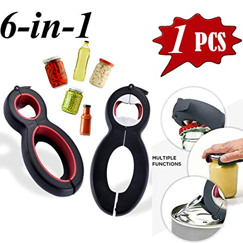 - Bottle Opener, 6-in-1 Multi Kitchen Tools Set, Can, Soda, and Jar Openers, Twist Off Lid - Lid Seal Remover Lid Twist Off for Children, Elderly and Rheumatoid Arthritis Sufferers