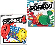 Hashbro Classic Sorry! Connect 4 Bundle |Friends, Family Indoor and Outdoor| Fun Strategy Board Games for Kids