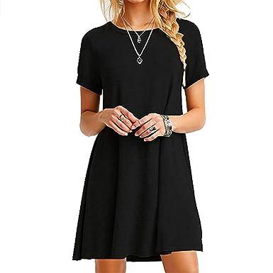 0493e97fe085 Anoir Women Summer Casual T Shirt Dresses A Line Swing Simple Multicolor Mini  Dress Beach Skirt Cover Up Slits at Amazon Women's Clothing store: