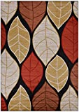 "RugStylesOnline Studio Collection Leaves Black Contemporary Design Area Rug, Multi Color, 7'10"" x 9'10"" For Sale"