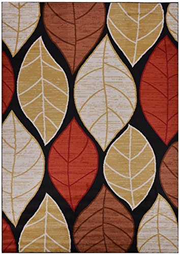 RugStylesOnline Studio Collection Leaves Black Contemporary Design Area Rug, Multi Color, 7'10