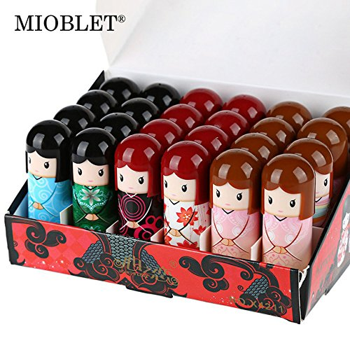 24Pc Cartoon Kimono Doll Lip Balm Fruit Taste Moisturizer Lipbalm Nourishing Lips Care Makeup