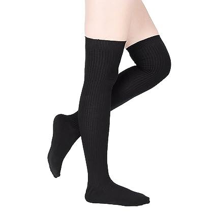 7e101e330809 Amazon.com   Delaman Women Socks Long Cotton Thigh High Socks