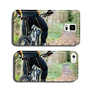 Cyclist standing in front of a path of the forest cell phone cover case Samsung S5